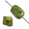 Glass Bead Twist Rectangle 12x10mm Green Marble Strung